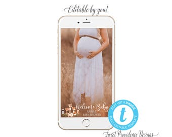 Baby Shower SNAPCHAT filter, Editable Geofilter, Woodland Floral filter, Baby Shower Invitation, Snapchat filter, Templett, Instant Download