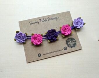 Newborn Headband,Pink Purple Felt Rose Headband,Felt Flower Headband,Newborn,Baby Flower Crown,Girls Flower Crown,Halo Headband