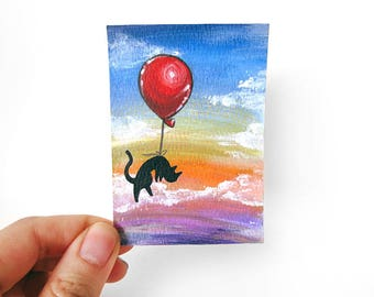 Black Cat ACEO Original Art, Pet Painting, Cat Lover, Balloon Decor, Rainbow Artwork, Memorial Gift, Pet Loss, In Memory, Cat Owners
