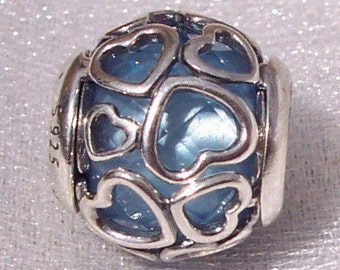 PANDORA Blue Encased In Love Charm FREE SHIPPING