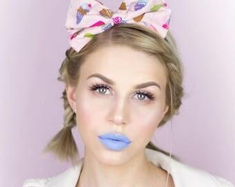 Cute Pastel Pink Milkshake and Ice Cream print Bow Headband Pin up Kawaii