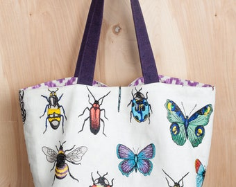 Bug Bag- Linen and Cotton Tote- by beckyzimmdesign
