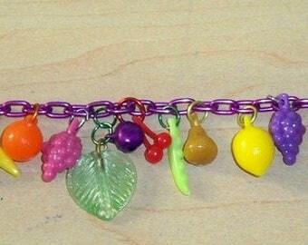 Handmade Vegan, Vegetarian, Fruits, Veggies, Leaves Charm Bracelet! Plastic and Metal, Adjustable!