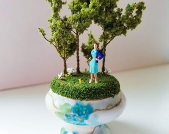 Miniature World Woman in Blue in Antique Dish Handmade One of a Kind Art Walk in the Woods Nature Walk Railroad Moss