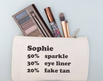 Personalised percentage make up purse - unique gift for birthdays - best friend gift - teenage girl gifts - make up bag - girlfriend gift