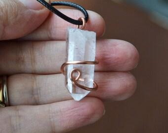 Clear Quartz Necklace, Copper Wrapped Quartz, Quartz Point Necklace, Quartz Stone, Copper Wrap, Gifts under 50, Healing Stones