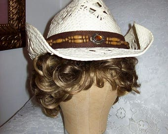 Vintage Ladies White Open Weave Cowboy Hat w/ Hat Band Only 10 USD