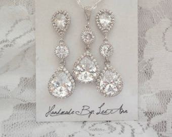 Brides jewelry set, Necklace and earring set, AAA+ Cubic Zirconias, Teardrops, Wedding jewelry set,Sterling necklace and posts-High end, LUX