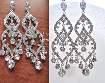 Long Crystal Chandelier earrings Sterling posts Brides chandelier earrings Pageant earrings Statement earrings Wedding Bridal Jewelry