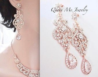 Rose gold earrings, Rose gold brides earrings, Rose gold crystal earrings, Rose gold chandelier earrings, Rose gold wedding earrings, MIA