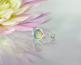 Australian Opal Ring, Opal Engagement Ring, Opal Silver Ring, Opal Sterling Ring, October Birthstone Ring, Unique Opal Ring, Opal Halo Ring