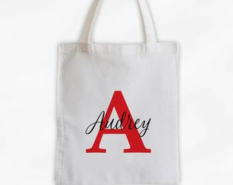Initial and Script Name Cotton Canvas Personalized Tote Bag - Monogram Custom Gift in Red and Black  (3005)