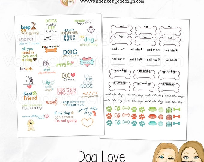 Planner Calendar Stickers - Dog Love - 86 total stickers - Dog stickers