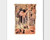 """Alice in Wonderland, Vintage Fairy Tale Wall Art --- """"Alice's Neck in the Silhouette Forest"""" No. 86"""