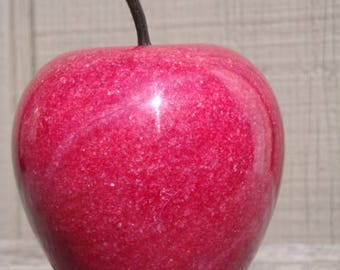 Red APPLE Alabaster Marble Stone Fruit Paperweight Teacher