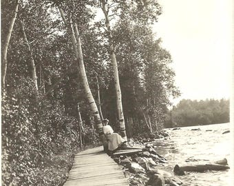 "Vintage Photo ""By The Lake"" Adirondacks Birch Trees Victorian-Era Woman Found Vernacular Photo Wooden Walkway Shoreline"
