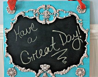 Painted chalkboard, Framed art, first day of school sign reusable