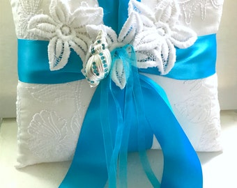 Wedding Ring Bearer Pillow, Ring Pillow, Ring Bearer Pillow White, White Ring Pillow, Beach Wedding Ring Pillow, Ready to Ship, Marti & CO