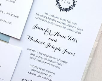 Wedding Invitation Suite  |  Instant Download PDF - Printable Wedding Invitation Suite |  Wedding Invite |  Modern Wreath Collection