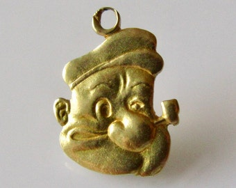 18ct Gold  Popeye The Sailor Man Charm or Pendant