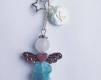 Personalised gemstone planner charm, aquamarine, amethyst, guardian angel zipper charm, keyring, initial jewellery, planner accessories.