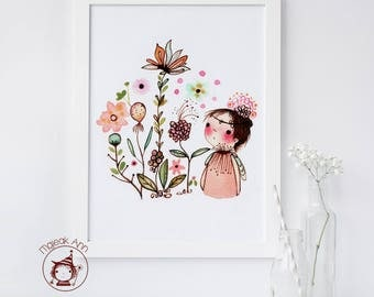 Mes Fleurs - Poster Nursery Decor - Baby Girl Decor - Girl and Flowers - Nature Print- Whimsical, First Birthday, Baby Shower