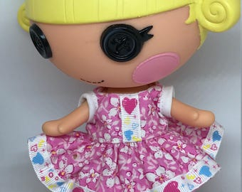Handmade Dress for Lalaloopsy Little Doll // Little Sister // Doll Clothes // Stocking Stuffer // Under 10 // For Girls // Pink