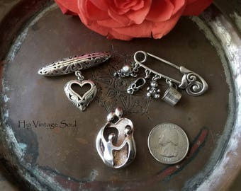 Vintage 1980's Sterling Silver Brooches, Set of 3, Carolyn Pollack Family Circle, Filagree Heart, Safety Pin Baby