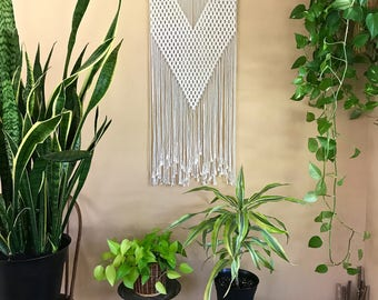 "Macrame Wall Hanging - Natural White Cotton Rope on 20"" Wooden Dowel - Geometric Triangle - Boho Home, Nursery Decor - Ready To Ship"