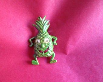 Anthropomorphic Brooch Pineapple Pin Google Eyes RARE Green Iridescent Figural 1960's Vintage Costume Jewelry Fruit Summer MoonlightMartini
