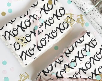 XOXO - Burp Cloth Set of 2 Cotton + ivory minky baby girl shower gift - Ready To Ship - black white script letters modern boho