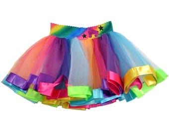 Roller Skate Party Rainbow Tutu Skirt Glow Skating Rink Disco Tween Pink