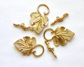 Grape Leaf Toggle Clasps - Gold Fancy Leaf and Vine Toggle Clasps, 3 Sets (INDOC339)