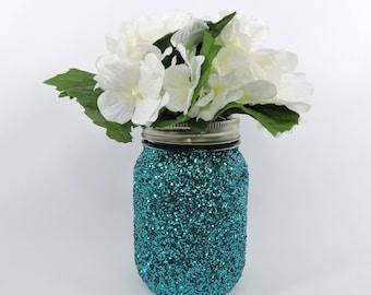 Turquoise Glitter Mason Jar for Wedding Decor, Baby Shower Decor, Graduation Party Decor, Birthday Party Decor