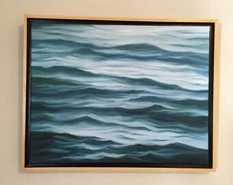 "Original 14"" x 18"" framed seascape, oil on canvas, fine art, representational waterscape painting."