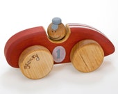 Personalized Wooden Toy, Wooden Car Toy, Red Racing Car Toy, Toddler Toys, Old Fashioned Toy Car, Push and Pull Toys