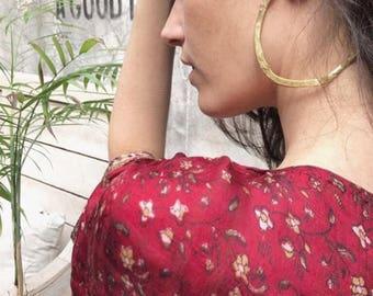 large golden hoop, rustic natural earrings, organic xxl earrings, nina simone hoops, gold satin big earrings, perfect party earrings, mai