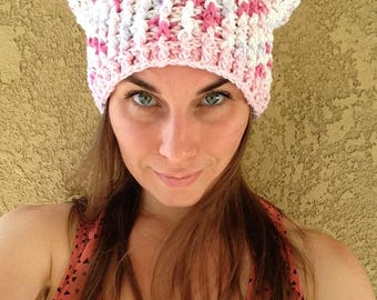 READY TO SHIP - Pussy Hat - pink white spots feminism feminist protest trump misogyny progressive liberal equality cat ears pussyhat crochet