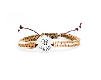 Paw Print Bracelet, Pet Memorial Bracelet, Personalized bracelet, Hemp bracelet, Charm Bracelet, Custom Pet Jewelry, Pet Memorial Jewelry