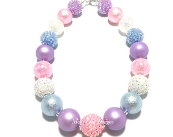 Toddler or Girls Pastel Chunky Necklace - Pink, Purple, Blue and White Bubblegum Necklace - Unicorn Necklace - Pastel Rainbow Necklace