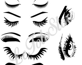 Eyelashes Svg, Eye SVG, MakeUp Svg, Vector svg file for Cricut, Instant Download Svg, Eyelashes Vector Art, Eyelashes Silhouette, Women Face