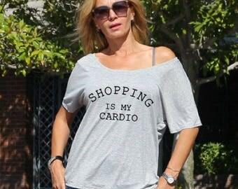 Shopping is my Cardio Flowy Shirt  ,Women Graphic Tee, Birthday Gift, Fashion Women Shirt , Funny Women Shirt