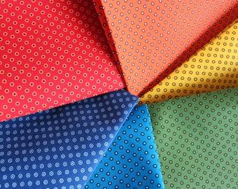 Shweshwe Fabric,Green Shweshwe, Fabric Printed in South Africa, Three Cats Shweshwe Fabric, Circled Dots