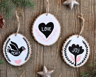 Rustic Christmas Ornament Set, Modern Christmas Ornament, Black and White Christmas, Peace Love Joy, Christmas Tree Decoration, Gift for Mom