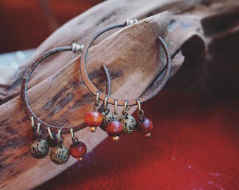 Hoop Earrings with Wooden Beads and Brass Bells