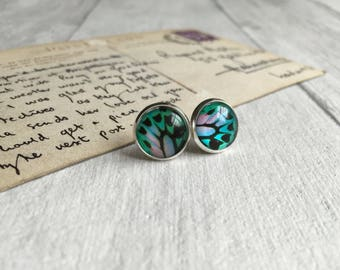 Green blue butterfly earrings, bug jewellery, butterfly post earrings, pretty earrings handmade in UK, nature, great outdoors inspired