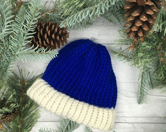 Blue knitted hat, knit accessories, knitted hat, knit hat, knitted accessories, fisherman beanie, wool hat, mens wool hat, knitwear, for him