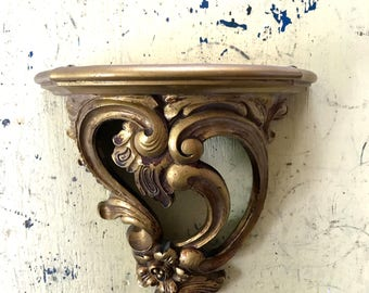 Vintage Hollywood Regency Gold Gilt Italian Florentine Look Shelf Sconce DART Syroco Plastic Resin Plate Figurine Display Shelf