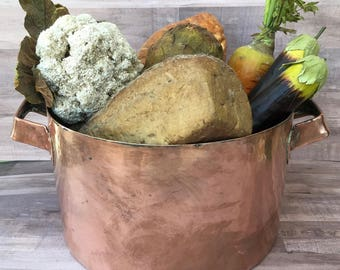 Reserved:  Large Heavy Antique Copper Cooking Pot