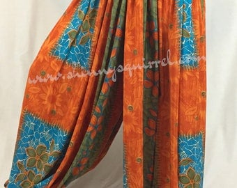upcycled silk sari harem pants in orange and turquoise for belly dance, tribal, renaissance fair, gypsy, bohemian,wide leg, pantaloons